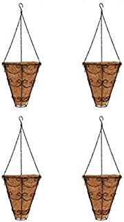 COIR GARDEN Coir Conical Hanging Basket (9-inch/Diameter -24 cm, Height -31 cm) -4 Pieces
