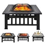 FCXBQ Quadratische Feuerstellentische für den Garten mit Poker, 3-in-1-Metallfeuerstelle und Feuerschalen zum Grillen, Feuerstellentisch für die Außenterrasse mit Funkenschutzgitter und Abflusslöc