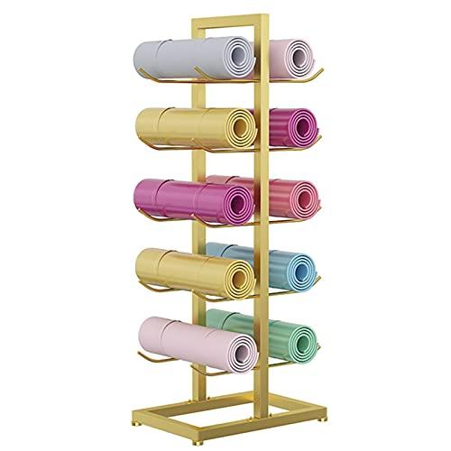 Estante de la Estera de Yoga Titular de Oro, 5 Niveles Metal Organizador de Rodillos de Espuma para el Hogar/Club de Fitness/Gimnasio, Doble Cara Soporte de Exhibición de la Estera de Yoga