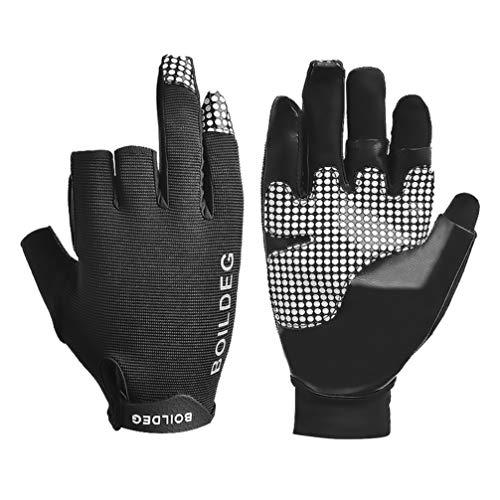 HEALLILY 1 par de Protección UV Pesca Guantes sin Dedos Protección Solar Guantes sin Dedos para Kayak Remar Piragüismo Remo Conducción - Talla L (Negro)