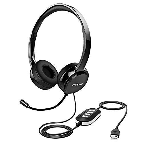 Mpow 071 Cuffie più Compatibile con USB/3.5mm con Microfono Cancellare Rumore per Computer.Cuffie Comodo e Leggere con Scheda Audio e Padiglione Morbido,Perfetto per Skype,Call Center,Onlinegame ECC