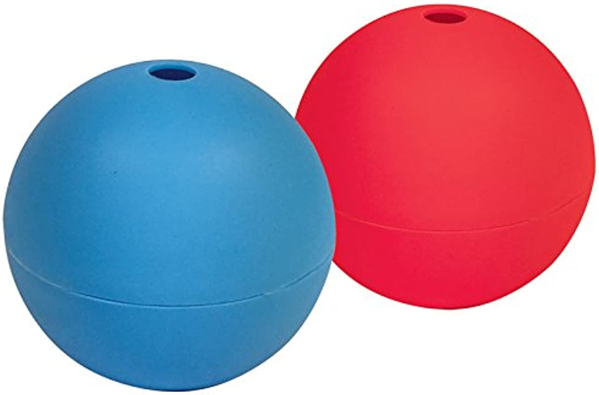 Better Kitchen Products Extra Large Ice Ball Maker Molds Set Of 2 Silicone 6cm Round Ice Balls For Whiskey Bourbon Drinks Blue And Red