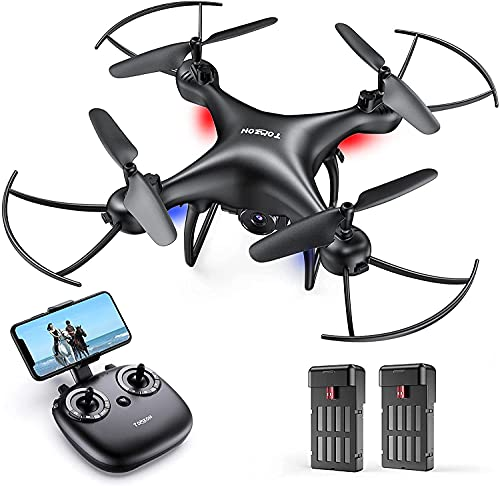 Tomzon Drone D28 Caméra 1080P HD pour Adultes, 2.4Ghz WiFi FPV en Temps Réel, Maintien d'altitude Flips 3D, Mode Sans Tête, Capteur de Gravité, Mini Drone pour Enfants Débutants avec Deux Batteries
