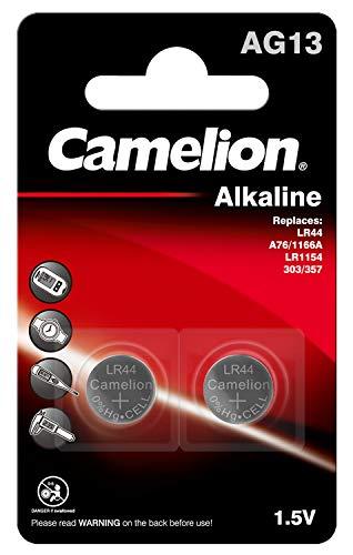 Camelion 12050213 Alkaline Knopfzellen ohne Quecksilber AG13/LR44/357/1,5 Volt, 2er-Pack