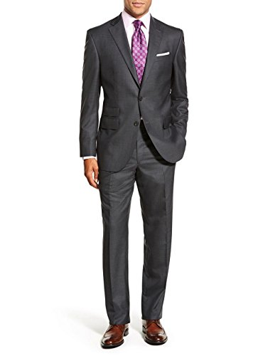 Luciano Natazzi Men's Two Button 2 Piece Modern Fit Suit Ticket Pocket Jacket (48 Regular US / 58R EU/W 42', Charcoal)