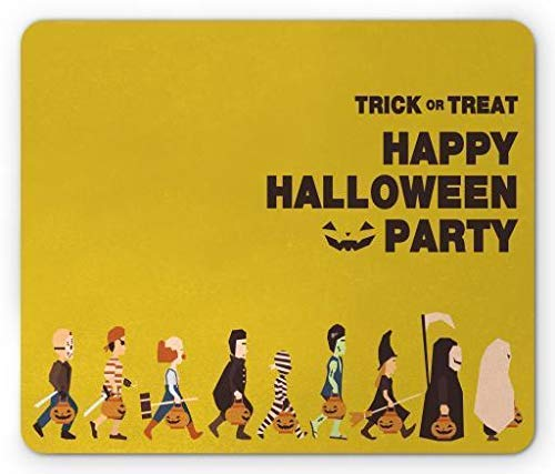 Drempad Gaming Mauspads Custom, Halloween Mouse Pad, Trick or Treat Halloween Party Pirate Clown Dracula Mummy Frankenstein Witch, Standard Size Rectangle Non-Slip Rubber Mousepad, Multicolor