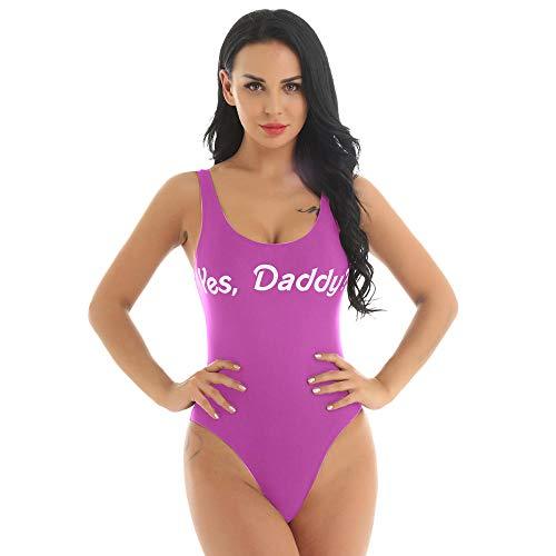Leder-Dessous für Damen, modisch, einteilig, Strandmode Yes Daddy, Buchstabendruck, tiefer U-Ausschnitt, niedriger Rücken, breite Schultergurte, hoher Schnitt, Badeanzug, Rosa, XL