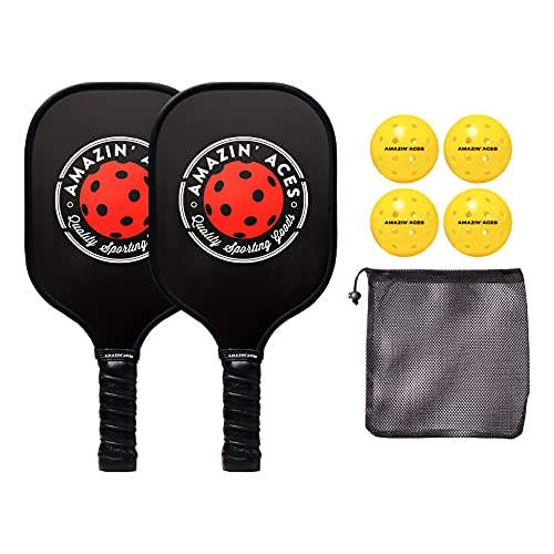 Amazin' Aces Pickleball Paddle Set | Pickleball Set Includes Two Graphite Pickleball Paddles + Four Balls + One Mesh Carry Bag | Premium Rackets Feature a Graphite Face & Polymer Honeycomb Core