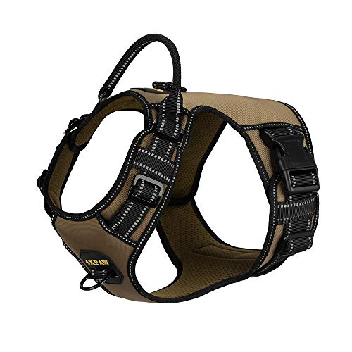 4XPAW Dog Harness with Padded Handle,Reflective in Night,Nylon Oxford Mesh Soft Padding Lining, No-Pull Metal D Ring,Quick Release Buckle ((M Neck:15