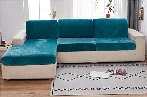 Gramke Funda de sofá de Terciopelo Grueso Asiento en Forma de L Funda de cojín de sofá de Color sólido Funda elástica Funda de sofá Todo Incluido 1/2/3/4 asiento-05_Cushion Cover 1pc