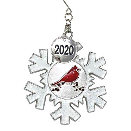 BANBERRY DESIGNS 2020 Dated Christmas Ornament - White Glittered Snowflake with Cardinal Design - Memorial Ornament