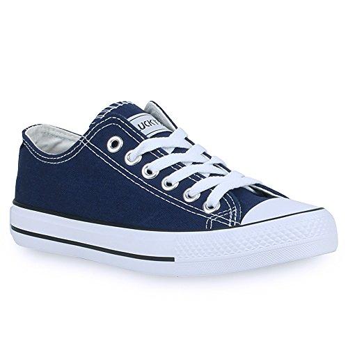 stiefelparadies Unisex Damen Herren Sneakers Sportschuhe Schnürer Schuhe 24757 Marineblau Ambler 40 Flandell
