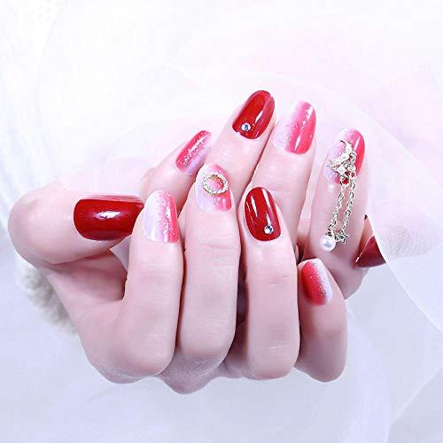 YFLDK Uñas postizas 24 Unids/caja vino rojo perlado prensado en uñas extraíbles mujeres usable
