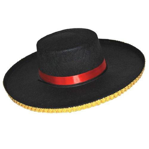 Fiesta Palace - chapeau espagnol noir avec galon doré