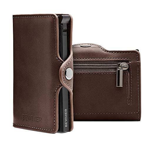 BEWMER Billetera para Tarjetas de crédito Delgada con protección de Cerradura RFID Porta Tarjetas rígido anticontracción y Monedero con Sistema de Bloqueo de Tarjetas anticaída (Marrón Monedero)