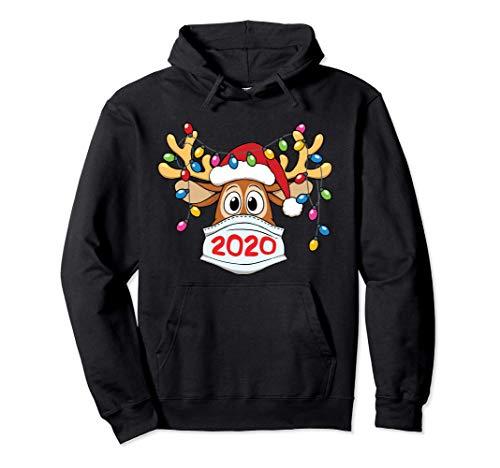 Reindeer In Mask And Garland Christmas 2020 Pullover Hoodie