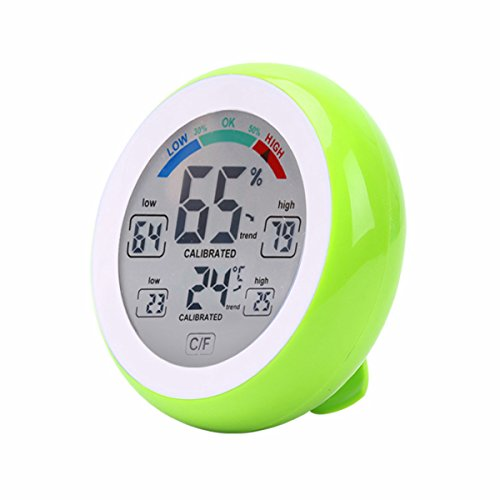 Enjoy Best Time Digital Indoor Wall Thermometer Hygrometer For Room,Touch Screen Accurite Table Room Temperature Gauge Humidity With Max/Min Value & Trends(Green)