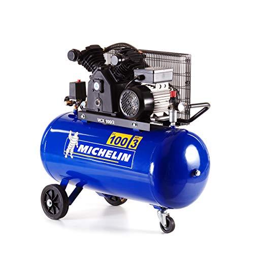 MICHELIN - Compresor de aire VCX100/3 - Tanque de 100 litros - Motor de 3 CV - Presión máxima 10 bar - Flujo de aire 350 l/min - 21 m³/h, azul