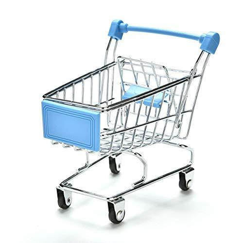RUIMA カラフルおかしいミニスーパーマーケットのショッピングカートトロリーペット鳥オウムハムスター玩具 鳥 おもちゃ (Color : Sky blue)