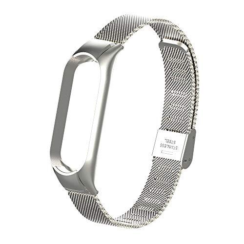 Pulseira metal prata aço inox para mi band 5 - Engate frontal com trava de segurança