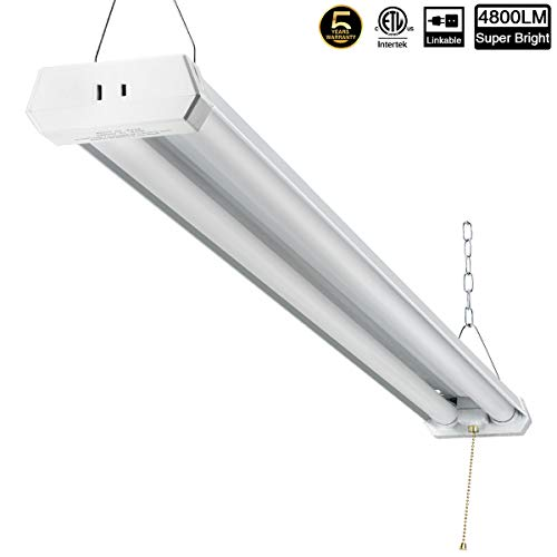 Linkable LED Shop Light for Garage, 42W 5000lm 4FT, 6000-6500K Daylight White, with Pull Chain (ON/Off) cETLus Listed, 5-Year-Warranty, 6000K (1PK)