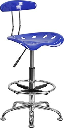 new arrival Vibrant outlet online sale Nautical Blue & Chrome Drafting Stool with Tractor Seat - Shop wholesale Stool, Salon Stool sale
