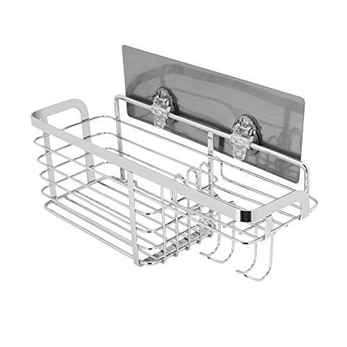 Almacenamiento de ducha Caja de almacenamiento de baño Caja de almacenamiento Ducha Retalera de cocina Montado en pared No perforación de acero inoxidable Canasta de alambre Almacenamiento organizador