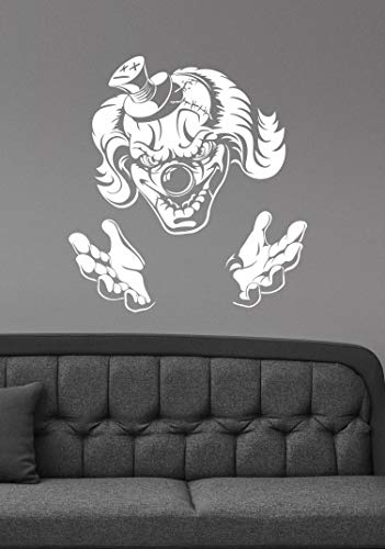 Scary Clown Wall Vinyl Decal Evil Jester Vinyl Sticker Sinister Demonic Circus Halloween Art Best Horror Decorations for Home Room Bedroom Decor Made in USA Fast Delivery
