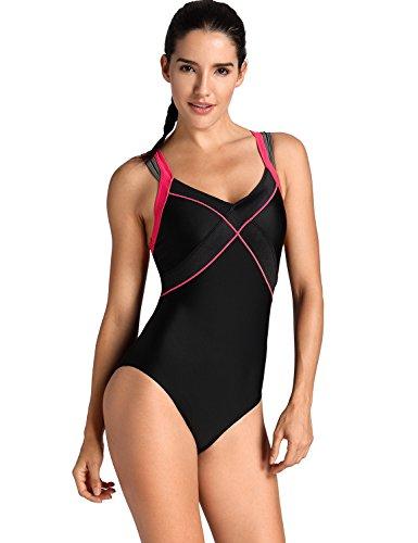 SYROKAN Damen Sports Badeanzug - doppelte Träger X-Rücken Einteiler Bademode Schwarz 36