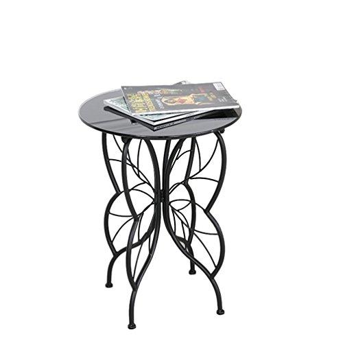 CHANG-dq Forme de papillon Petite Table ronde Fer Art Verre Petite Table Basse Plusieurs Côtés Salon Canapé Coin Table Basse 40 * 40 * 55 cm durable (Couleur : Black-#1)