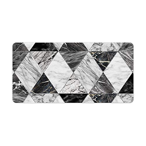 """SUPNON Desk Pad Office Desktop Protector Black and White Marble in The Form of Diamonds with Silver Edging Rubber Desk Mat Blotters Organizer with Comfortable Writing Surface 23.6"""" x 11.8"""" No-106"""