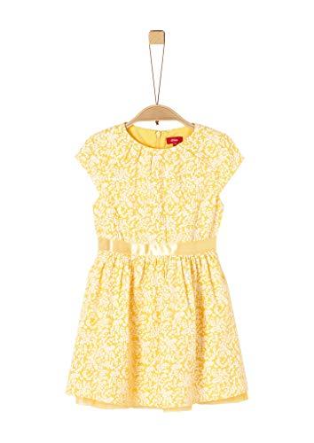 s.Oliver Junior Mädchen Kleid für besondere Anlässe, 13a7 Puder Gelb Aop, 104/REG