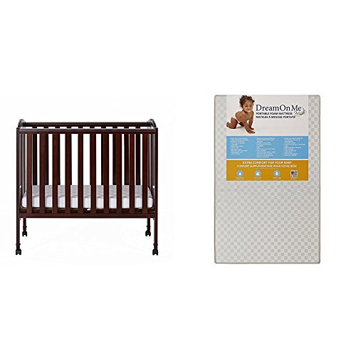 Dream On Me 2 in 1 Portable Folding Stationary Side Crib with Dream On Me 3 Portable Crib Mattress White