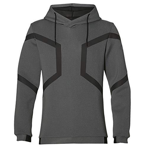 ASICS Herren Hexagon Po Hoodie Sweatshirt, Grau (Grey 153343-027), Large (Herstellergröße: L)
