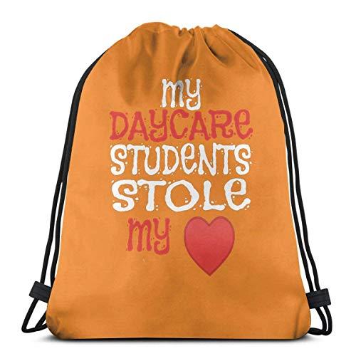 JONINOT Los Estudiantes de mi guardería se robaron mi corazón los Profesores Mochila de Boca de Ramo Estampada Personalizada Informal gráfica