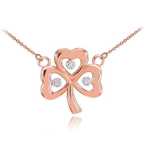 14k Rose Gold Shamrock Charm Three Diamond Clover Leaf Pendant Necklace, 16'