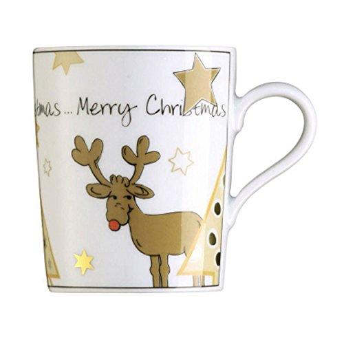 Arzberg Weihnachtsartikel Santas Reindeer Becher mit Henkel, Porzellan, White, 31.3 x 23.3 x 9.8 cm