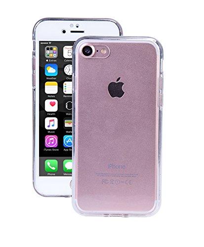 SDTEK iPhone 7 Plus/iPhone 8 Plus (Bianco) Cover, Protezione a 360° Custodia Case Caso Silicone Gel Strato di Vetro Integrato
