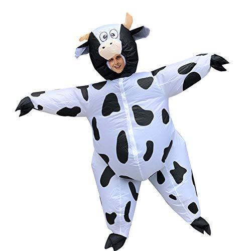 belupai Aufblasbare weiße Kuh-Kostüm für Erwachsene, Halloween, Geburtstag, Weihnachten, Cosplay, Partyzubehör