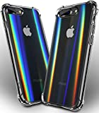 COOLQO Compatible for iPhone 8 Plus / 7 Plus Case 5.5', Ultra-Thin Clear Soft TPU Rubber Shockproof 4 Corners Protective Cover with Aurora Psychedelic Holographic Rainbow Phone Back Screen Protector