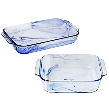 Pyrex Watercolor Blue Lagoon Glass Baking Dishes, 3 Quart Oblong and 2 Quart Square