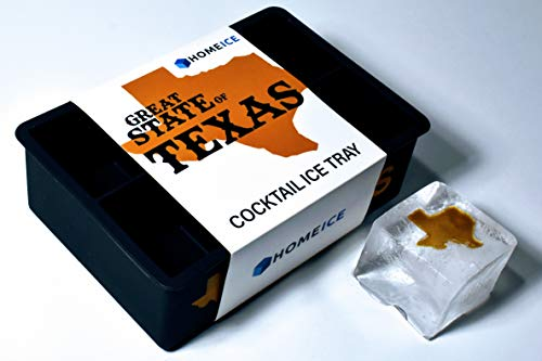 Home Ice Great State of Texas Cocktail Ice Tray - Silicone Ice Mold - Makes 6 Large Ice Cubes