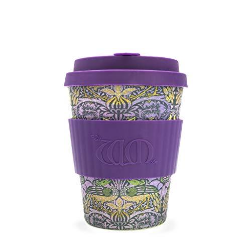 Ecoffee Cup Kaffeebecher, 340 ml, aus Bambusfaser, mit Pfauen-Design von William Morris, tropfsicherer Deckel und spülmaschinenfest