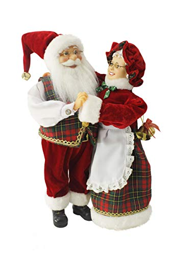 """Dancing Mr & Mrs Santa Claus Red, Green, Gold Plaid 16"""" Inch Standing Figurine Figure Decoration 160051"""