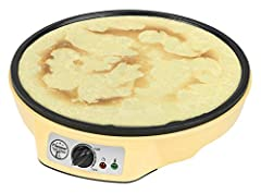 Bestron Crepes Maker i Retro Design, Sweet Dreams, Non-stick Coating, 30 cm, 1000 Watt, Gul