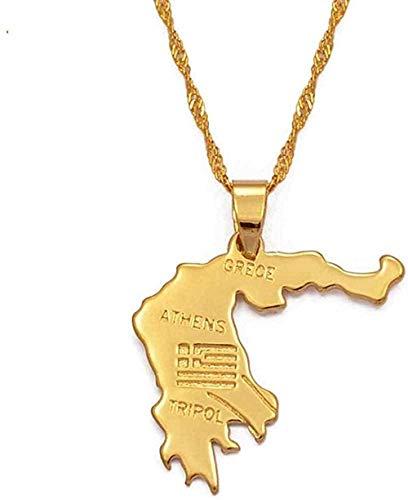 ZGYFJCH Co.,ltd Collar Mapa de Grecia Collares Pendientes Joyería Griega de Color Dorado