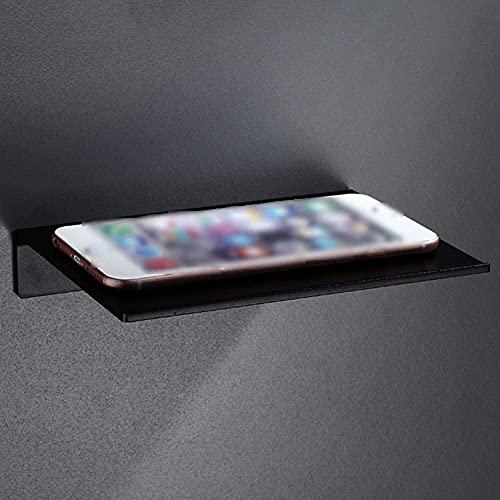 WGFGXQ Baño Estante de baño Organizador de Ducha Espacio montado en la Pared Aluminio Rectángulo Soporte para teléfono Inodoro Punch Free 1tier, Negro Plata