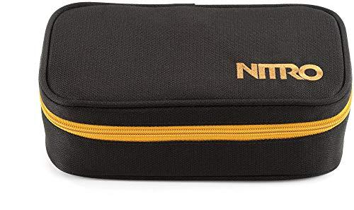 Nitro Pencil Case XL inkl. Geo Dreieick & Stundenplan, Federmäppchen, Schlampermäppchen, Faulenzer Box, Federmappe, Stifte Etui,  Golden Black