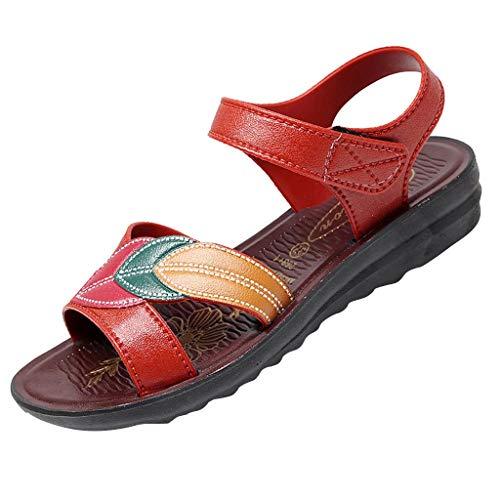 TEELONG Sandalias planas de verano para mujer, sandalias de playa, cómodas, estilo vintage, con flores, tallas 4.5-7, color Rojo, talla 40 EU
