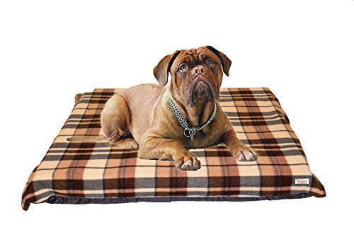 KosiPet Extra Large Deluxe High Density Foam Mattress Waterproof Dog Bed Beds Cream Check Fleece